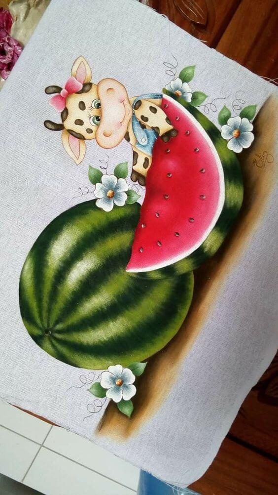 Pintura em pano de prato com frutas