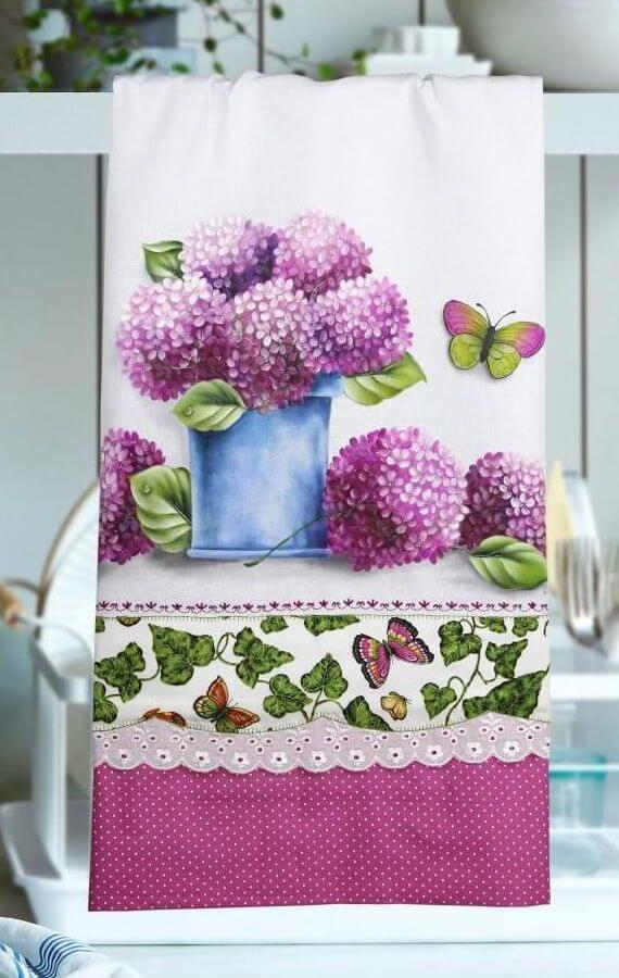 Pintura em tecido para pano de prato