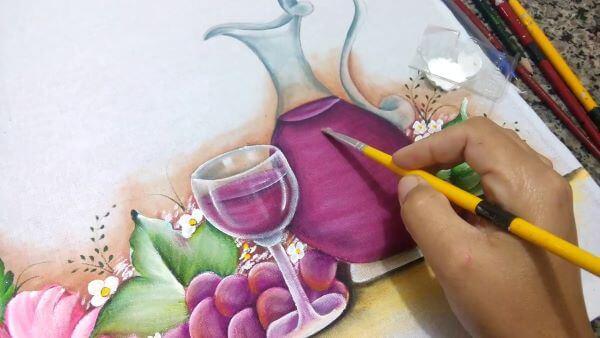 Pintura para pano de prato roxo