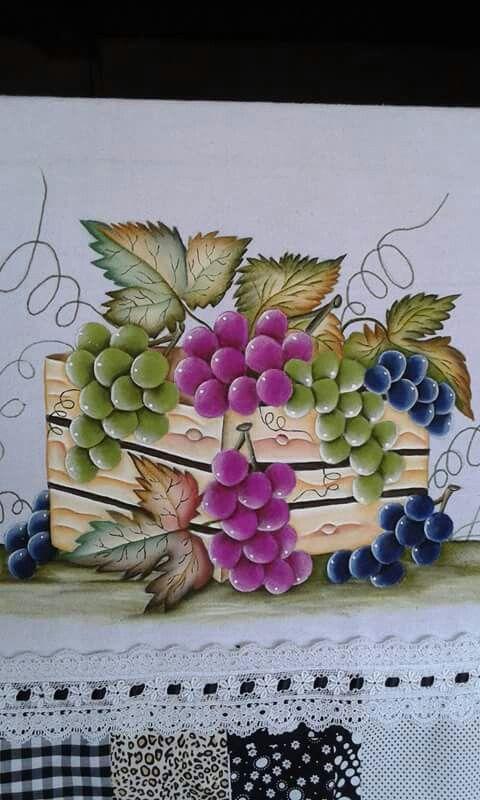 Pinturas para pano de prato com uva