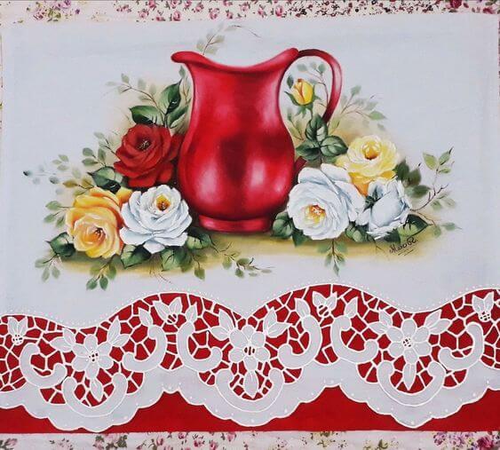 Pinturas em pano de prato com flores lindas