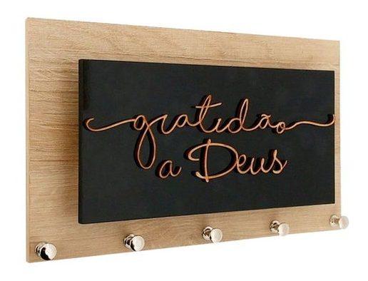 porta chaves com frase em letra cursiva