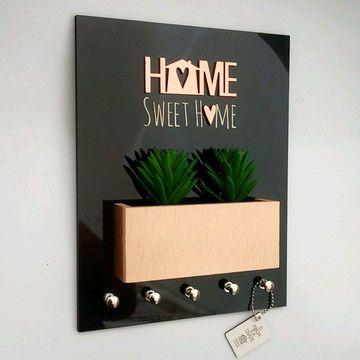 porta chaves com vaso de planta