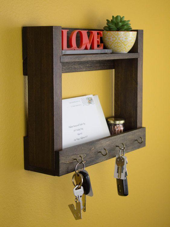 porta chaves de madeira de demolição