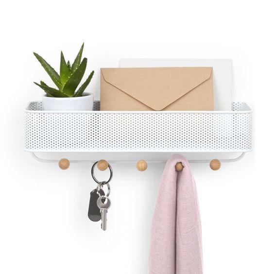 porta chaves de metal com cesta de correspondências