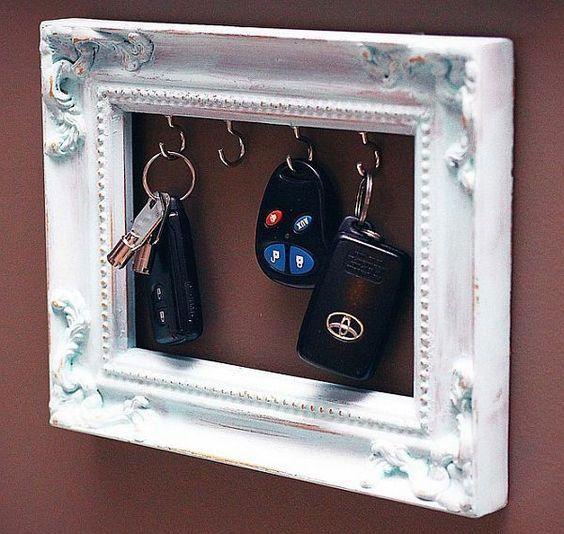 porta chaves em moldura de quadro