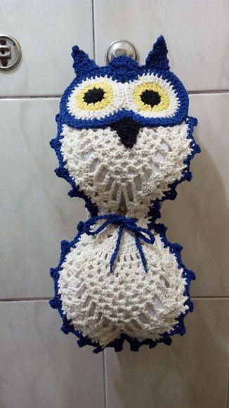 porta papel higiênico de crochê com olhos de coruja