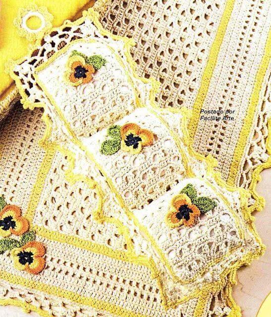 porta papel higiênico de crochê com flores