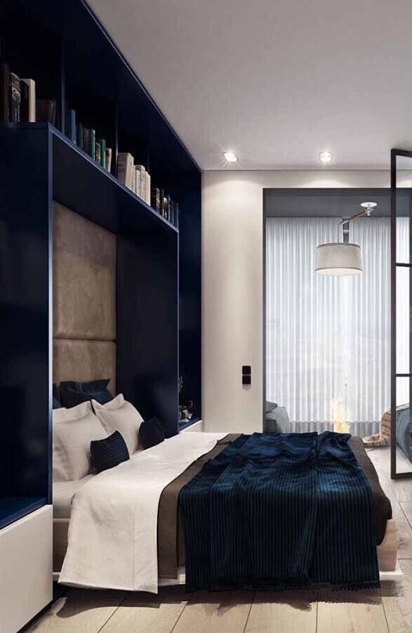 quarto azul marinho moderno Foto Maison Gabriele