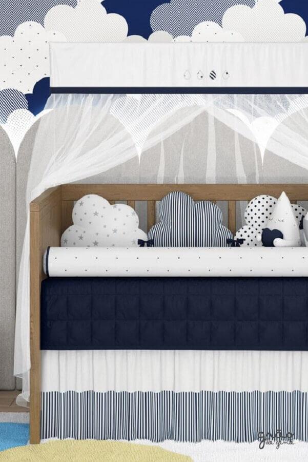 quarto de bebê azul marinho e branco Foto Grão de Gente