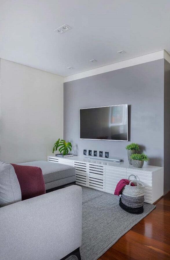 rack para sala pequena com decoração clean Foto Ideias Decor