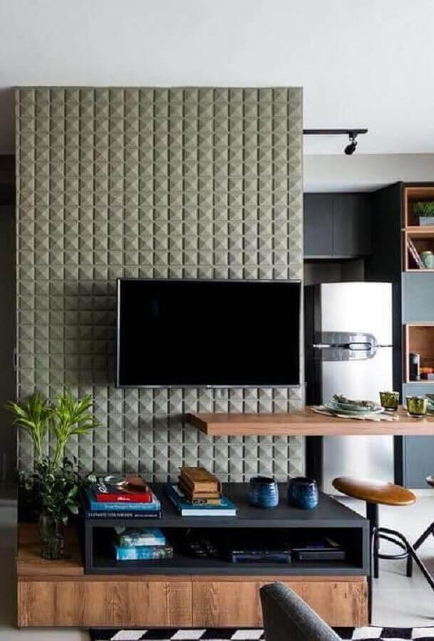 rack para sala pequena com decoração moderna e revestimento 3d Foto Decoração de Casa