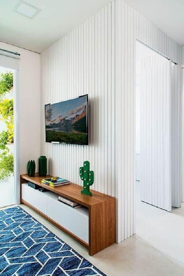 rack pequeno para sala pequena com tapete azul Foto Decoração de Casa