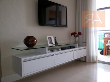 rack suspenso branco com tampo espelhado