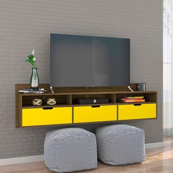 rack suspenso pênsil rústico com gavetas amarelas
