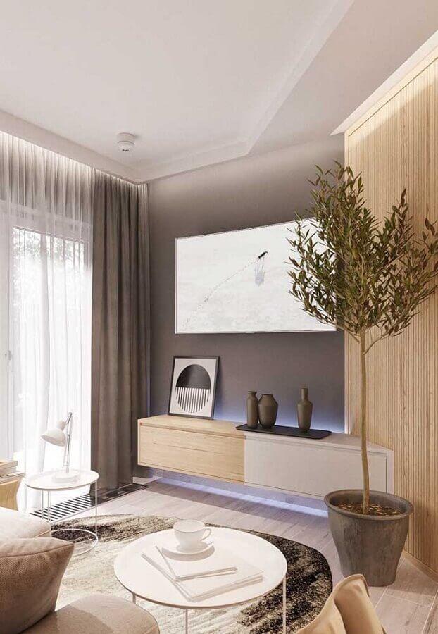 racks modernos para salas pequenas planejadas Foto Maurício Gebara Arquitetura