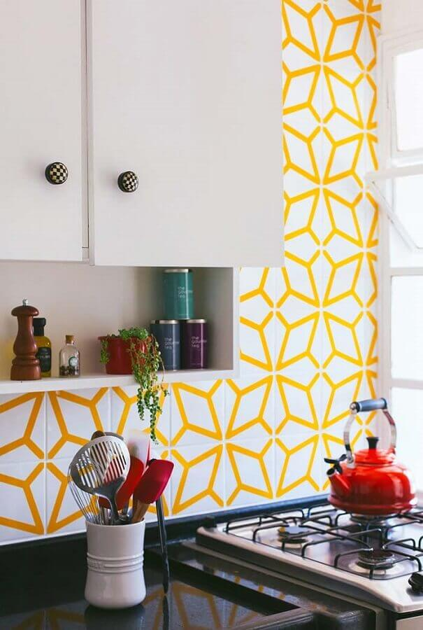 revestimento para cozinha amarela Foto Ideias Decor