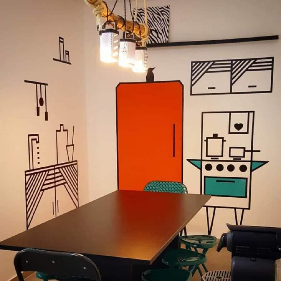 sala de jantar moderna decorada com fita isolante preta Foto Cozinha do Campo Belo