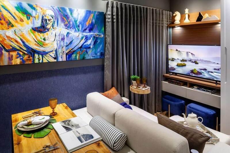 sofá para apartamento - espaço com tons de azul