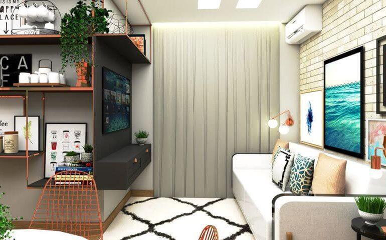 sofá para apartamento - sala de estar estilo escandinavo - G+G Interiores