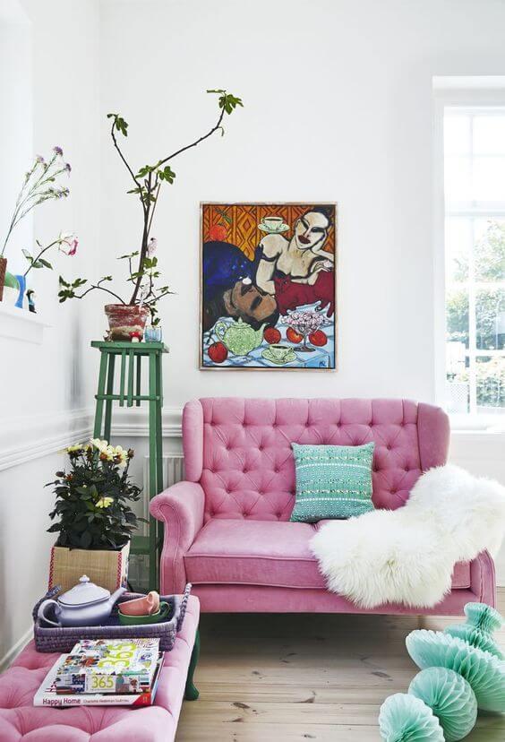 Sofá colorido 2 lugares para sala delicada