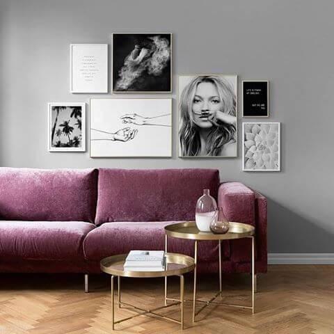 Sofá colorido roxo