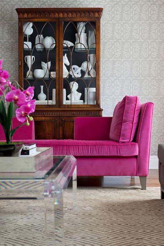 Chaise com sofá fúcsia