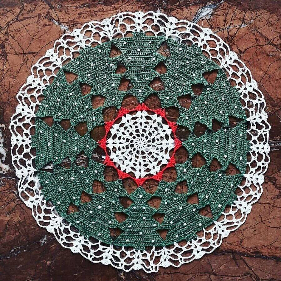 sousplat de crochê com design natalino Foto Dicas de Mulher