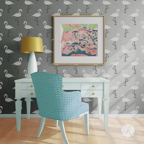 Stencil para parede de flamingo