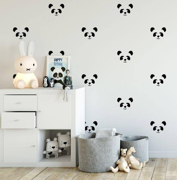 Stencil para parede em formato de panda