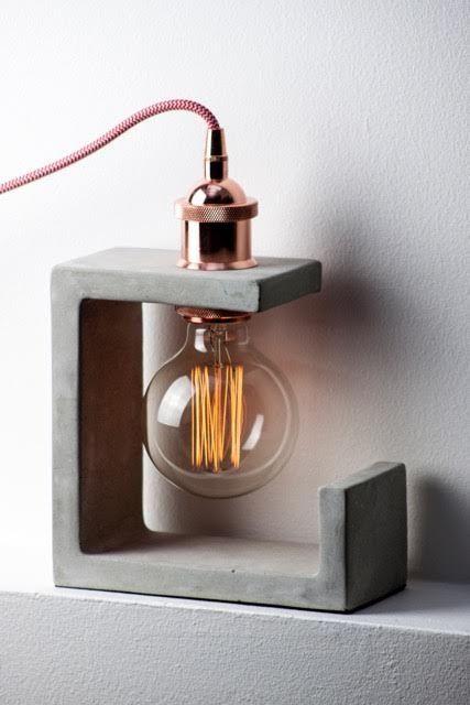 tipos de lâmpadas - luminária de concreto