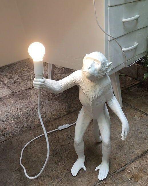 tipos de lâmpadas - luminária de macaco branco com lâmpada fluorescente
