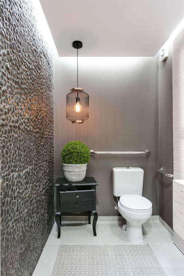 tipos de lâmpadas - parede com revestimento de pedra