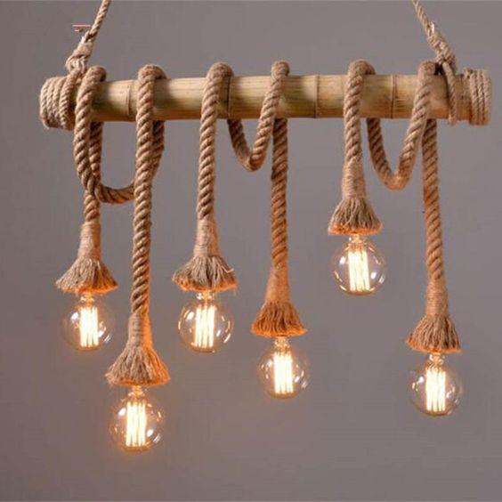 tipos de lâmpadas - pendente de cordas