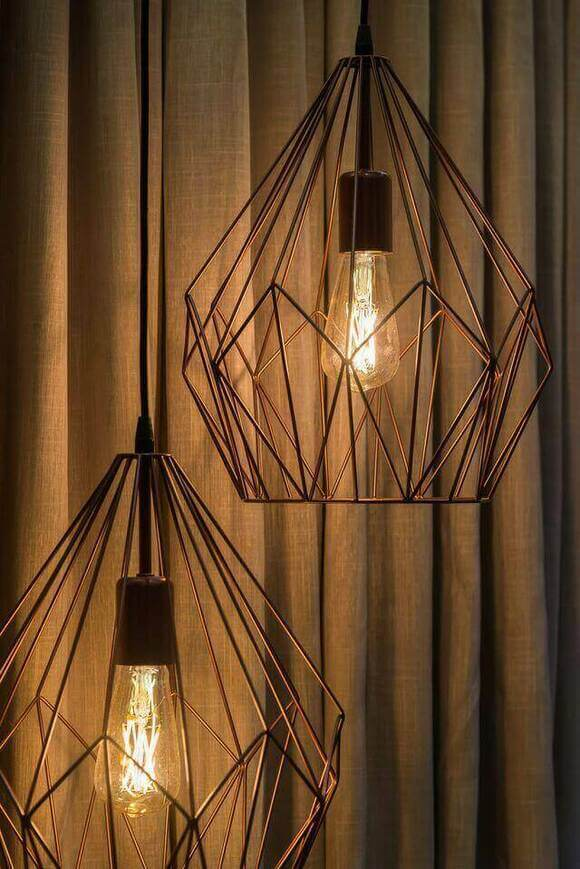 tipos de lâmpadas - pendente estilo industrial cobre e lâmpada retrô