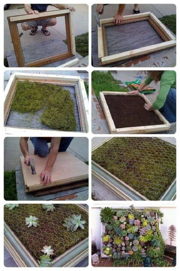 Mini tutorial sobre como montar um jardim vertical de suculentas