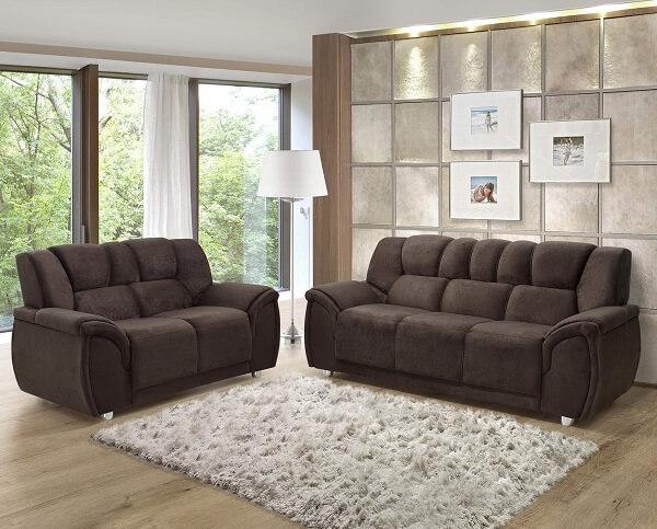 Conjunto de sofá 2 e 3 lugares suede amassado em tom café