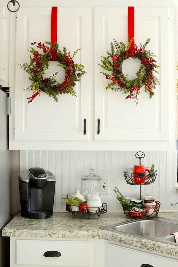 White kitchen decoration with Christmas decorations for cabinet door Photo Christmas Glitter