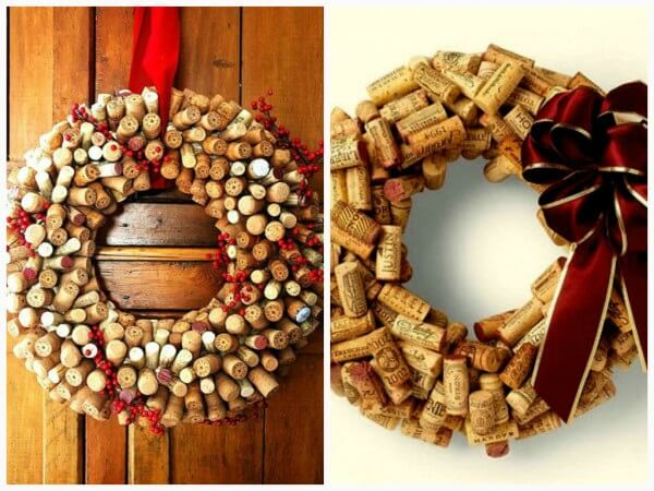 Enfeites de Natal criativos como essa guirlanda feita com rolhas de garrafa