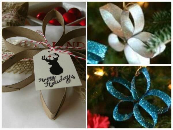 Enfeites de natal feitos com rolo de papel