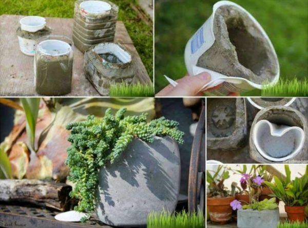Como fazer enfeites para jardim de cimento