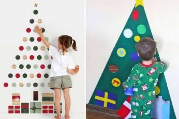 Chame as crianças para montar a árvore de Natal na parede