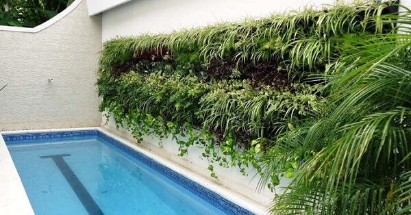 Aproveite a parede lateral da piscina para criar um lindo jardim vertical artificial