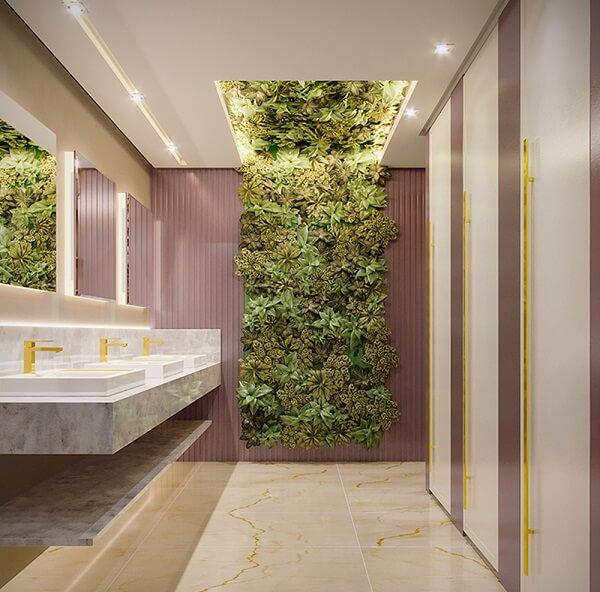 Lavabo feminino deslumbrante com jardim vertical artificial