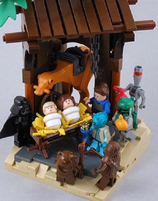 Presépio feito com bonecos de Lego