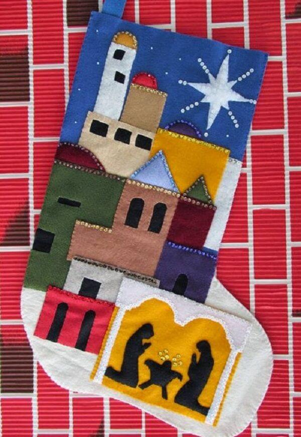 Presépio feito com feltro em formato de meia
