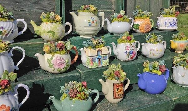 Reaproveite peças de porcelana e monta um lindo jardim de suculentas