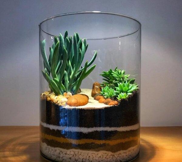 Reaproveite um pote de vidro para fazer um terrário e um mini jardim de suculentas