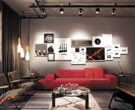 Sala de estar com decoração industrial e Spot de luz trilho