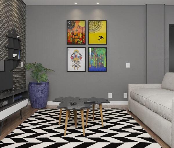 Sala de estar com mesa de centro criativa e tapete geométrico 200x250 preto e branco